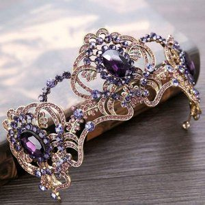Purple Crystal Rhinestone Gold tone Tiara Crown